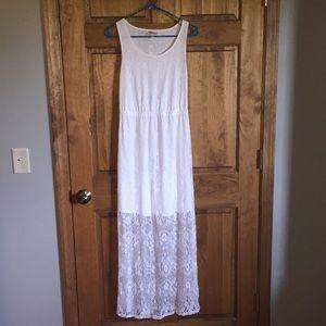 White lace thick strap maxi dress!